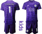 Wholesale Cheap Leicester City #1 Schmeichel Purple Goalkeeper Kid Soccer Club Jersey