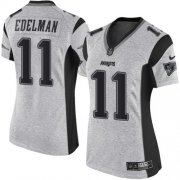 Wholesale Cheap Nike Patriots #11 Julian Edelman Gray Women's Stitched NFL Limited Gridiron Gray II Jersey