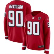 Wholesale Cheap Nike Falcons #90 Marlon Davidson Red Team Color Women's Stitched NFL Limited Therma Long Sleeve Jersey
