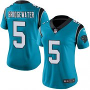 Wholesale Cheap Nike Panthers #5 Teddy Bridgewater Blue Women's Stitched NFL Limited Rush Jersey