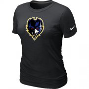Wholesale Cheap Women's Baltimore Ravens Team Logo T-Shirt Black