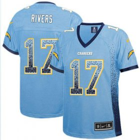 Wholesale Cheap Nike Chargers #17 Philip Rivers Electric Blue Alternate Women\'s Stitched NFL Elite Drift Fashion Jersey