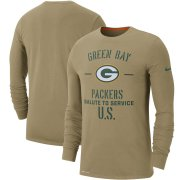 Wholesale Cheap Men's Green Bay Packers Nike Tan 2019 Salute to Service Sideline Performance Long Sleeve Shirt