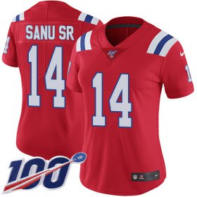 Wholesale Cheap Nike Patriots #14 Mohamed Sanu Sr Red Alternate Women\'s Stitched NFL 100th Season Vapor Limited Jersey