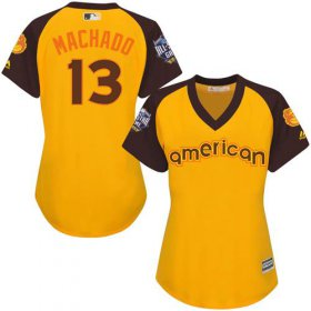 Wholesale Cheap Orioles #13 Manny Machado Gold 2016 All-Star American League Women\'s Stitched MLB Jersey