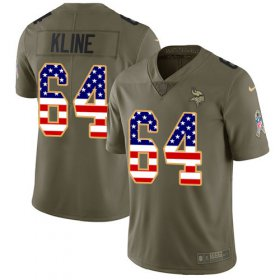 Wholesale Cheap Nike Vikings #64 Josh Kline Olive/USA Flag Men\'s Stitched NFL Limited 2017 Salute To Service Jersey