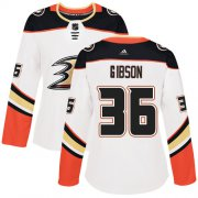 Wholesale Cheap Adidas Ducks #36 John Gibson White Road Authentic Women's Stitched NHL Jersey