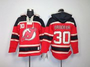 Wholesale Cheap Devils #30 Martin Brodeur Red Sawyer Hooded Sweatshirt Embroidered NHL Jersey