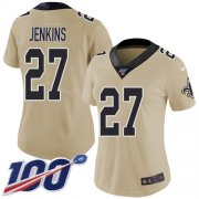 Wholesale Cheap Nike Saints #27 Malcolm Jenkins Gold Women's Stitched NFL Limited Inverted Legend 100th Season Jersey