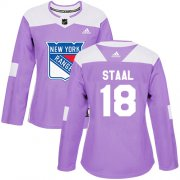 Wholesale Cheap Adidas Rangers #18 Marc Staal Purple Authentic Fights Cancer Women's Stitched NHL Jersey