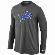 Wholesale Cheap Nike Detroit Lions Logo Long Sleeve T-Shirt Dark Grey