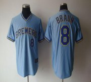 Wholesale Cheap Brewers #8 Ryan Braun Light Blue Cooperstown Stitched MLB Jersey