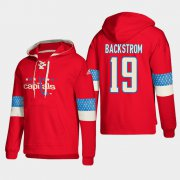 Wholesale Cheap Washington Capitals #19 Nicklas Backstrom Red adidas Lace-Up Pullover Hoodie