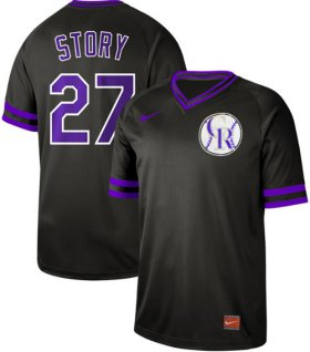 Wholesale Cheap Nike Rockies #27 Trevor Story Black Authentic Cooperstown Collection Stitched MLB Jersey