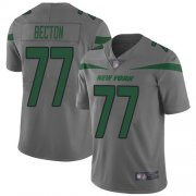 Wholesale Cheap Nike Jets #77 Mekhi Becton Gray Men's Stitched NFL Limited Inverted Legend Jersey