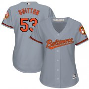 Wholesale Cheap Orioles #53 Zach Britton Grey Road Women's Stitched MLB Jersey