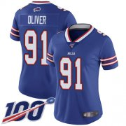Wholesale Cheap Nike Bills #91 Ed Oliver Royal Blue Team Color Women's Stitched NFL 100th Season Vapor Limited Jersey