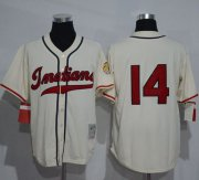 Wholesale Cheap Mitchell And Ness 1948 Indians #14 Larry Doby Cream Throwback Stitched MLB Jersey