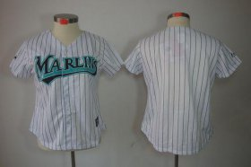 Wholesale Cheap Marlins Blank White Women\'s Fashion Stitched MLB Jersey