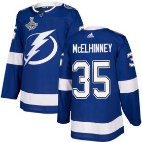 Cheap Adidas Lightning #35 Curtis McElhinney Blue Home Authentic Youth 2020 Stanley Cup Champions Stitched NHL Jersey