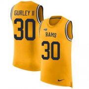 Wholesale Cheap Nike Rams #30 Todd Gurley II Gold Men's Stitched NFL Limited Rush Tank Top Jersey