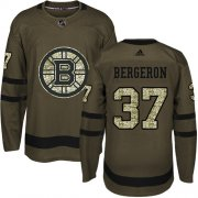 Wholesale Cheap Adidas Bruins #37 Patrice Bergeron Green Salute to Service Youth Stitched NHL Jersey