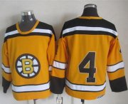 Wholesale Cheap Bruins #4 Bobby Orr Yellow CCM Throwback Stitched NHL Jersey