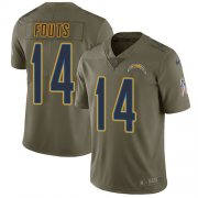 Wholesale Cheap Nike Chargers #14 Dan Fouts Olive Men's Stitched NFL Limited 2017 Salute to Service Jersey