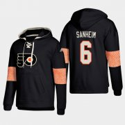 Wholesale Cheap Philadelphia Flyers #6 Travis Sanheim Black adidas Lace-Up Pullover Hoodie