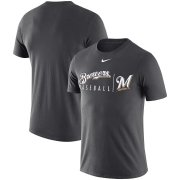 Wholesale Cheap Milwaukee Brewers Nike MLB Practice T-Shirt Anthracite