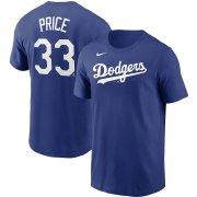 Wholesale Cheap Los Angeles Dodgers #33 David Price Nike Name & Number T-Shirt Royal
