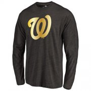 Wholesale Cheap Washington Nationals Gold Collection Long Sleeve Tri-Blend T-Shirt Black