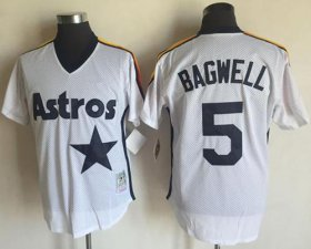Wholesale Cheap Mitchell And Ness Astros #5 Jeff Bagwell White Throwback Stitched MLB Jersey