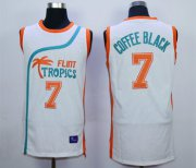 Wholesale Cheap Flint Tropics 7 Coffe Black White Semi Pro Movie Stitched Basketball Jersey