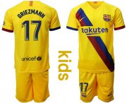 Wholesale Cheap Barcelona #17 Griezmann Away Kid Soccer Club Jersey