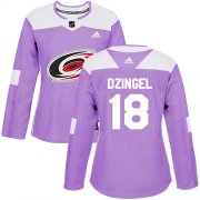 Wholesale Cheap Adidas Hurricanes #18 Ryan Dzingel Purple Authentic Fights Cancer Women's Stitched NHL Jersey