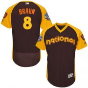 Wholesale Cheap Brewers #8 Ryan Braun Brown Flexbase Authentic Collection 2016 All-Star National League Stitched MLB Jersey