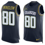 Wholesale Cheap Nike Chargers #80 Kellen Winslow Navy Blue Team Color Men's Stitched NFL Limited Tank Top Jersey