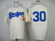 Wholesale Cheap Mitchell And Ness 1955 Dodgers #30 Maury Wills Cream Throwback Stitched MLB Jersey