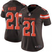 Wholesale Cheap Nike Browns #21 Denzel Ward Brown Team Color Women's Stitched NFL Vapor Untouchable Limited Jersey