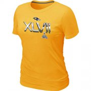 Wholesale Cheap Women's Baltimore Ravens 2012 Super Bowl XLVII On Our Way T-Shirt Yellow