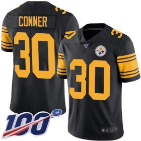 Wholesale Cheap Nike Steelers #30 James Conner Black Men\'s Stitched NFL Limited Rush 100th Season Jersey