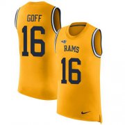 Wholesale Cheap Nike Rams #16 Jared Goff Gold Men's Stitched NFL Limited Rush Tank Top Jersey