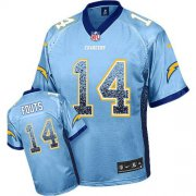 Wholesale Cheap Nike Chargers #14 Dan Fouts Electric Blue Alternate Men's Stitched NFL Elite Drift Fashion Jersey