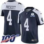 Wholesale Cheap Nike Cowboys #4 Dak Prescott Navy Blue Thanksgiving Men's Stitched With Established In 1960 Patch NFL 100th Season Vapor Untouchable Limited Throwback Jersey