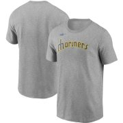 Wholesale Cheap Seattle Mariners Nike Cooperstown Collection Wordmark T-Shirt Heathered Gray