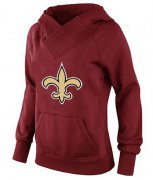 Wholesale Cheap Women's New Orleans Saints Logo Pullover Hoodie Red