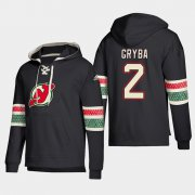 Wholesale Cheap New Jersey Devils #2 Eric Gryba Black adidas Lace-Up Pullover Hoodie