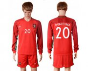 Wholesale Cheap Portugal #20 Quaresma Home Long Sleeves Soccer Country Jersey