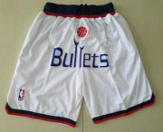 Wholesale Cheap Men's Washington Bullets White Just Don Shorts Swingman Shorts